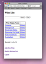 Mobile Site - Wine List Page
